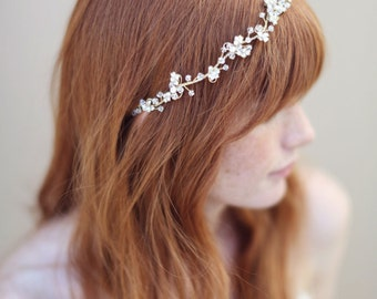 Bridal hair vine, headband, gold and crystal - Enchanted floral and crystal hair vine - Style 335 - Ready to Ship