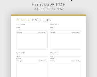 Missed Call Log - Fillable - Printable PDF - Business Planner - Household Binder - Instant Download