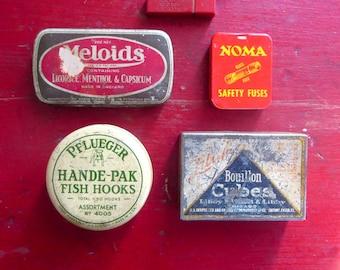 5 Vintage advertising tins Pflueger Hande Pak Fish Hooks Tin Meloids Tin Libby Bouillon Cubes tin Eversharp Red Lead tin Noma Fuse tin