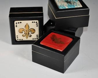Wood ring Box, Ring Box, Keepsake Box, Ceramic Tile box