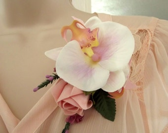 Wedding flowers,Blush Pink orchid & Rose corsage