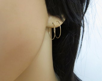 Thin gold hoops, gold filled hoop earrings, small gold hoop earrings, minimal earrings