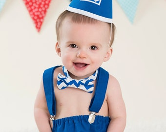 Boy Cake Smash Outfit, Blue and White Chevron, Boy Cake Smash, Boy 1st Birthday Set, 1st Birthday, 1st Birthday, Tie and Diaper Cover