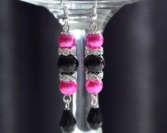 Black and Hot Pink Pearl Dangle Earrings - Black and Pink Earrings, Crystal Earrings, Bridal Jewelry, Wedding Earrings, Tear Drop  Earrings.