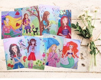 Illustrated postcard, Illustrated cards, postcrossing postcard, illustrated stationery, postcard set, fairy tale gift, fairy tale cards, set