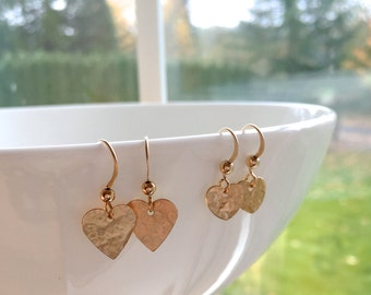 Mother and Daughter Heart Earrings, Two Pairs of Gold Filled Heart Earrings,  Wedding Jewelry, 14k gold filled heart earrings
