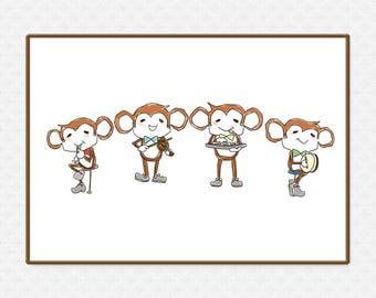 The Monkey Quartet Art Print | Large printable poster | Wall Art | High-Res 300dpi JPEG file