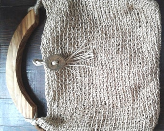 Crochet Bag With Olive Wood Handles