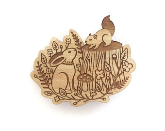 Forest friends brooch ~ woodland laser cut brooch