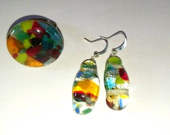 multicolor fuse glass ring earrings