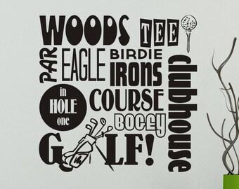 Golf Decal Golf Decor Golfing Wall Decal Sticker Subway Art Man Cave Vinyl  Wall Decor Living