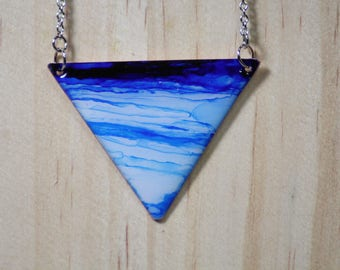 Sky Blue Triangle Hand Painted Necklace