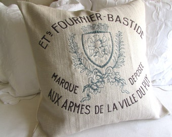 FRENCH CREST Pillow Cover grain sack style 20x20 22x22 24x24 26x26 in teal/ blue /brown