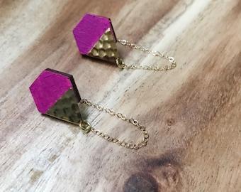 Fuchsia Wood Hexagon Earrings + Brass Triangle Charm + 14kt Gold Fill chain, Nickel Free Findings + Statement Earrings