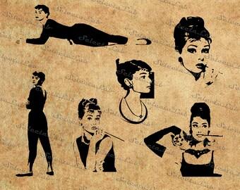 Digital SVG PNG Audrey Hepburn inspired, silhouette, vector, clipart, instant download