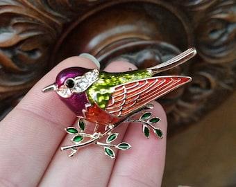 Bird brooch enamel bird multicolour gold tone purple orange light green and green