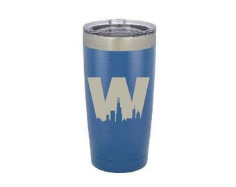 Chicago Cubs Tumbler, Fly the W, skyline, baseball fan, Stainless Steel, 20 oz,  Custom Engraved, Yeti