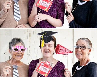 Graduation Printable PHOTOBOOTH PROPS - EDITABLE Text >> Instant Download   Paper and Cake