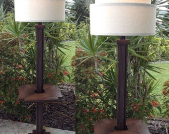 Missionesque Retro Tray Table Wood Floor Lamp With Integral 120V AC Outlet,  With Shade,