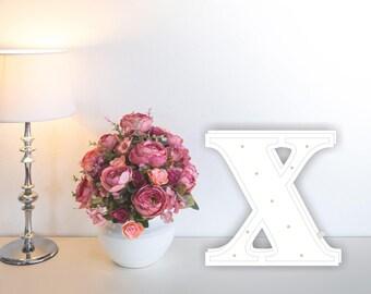 Letter lights X Marquee letter X alphabet lights Marquee letters Nursery light Wooden letters Night light Kids lamp  Baby shower Lamp