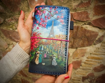 Paris Journal Travelers Notebook Leather Journal Hand Painted Paris Planner Natural Leather Standard Size Notebook 3 Inserts 192 Pages