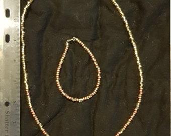 Morse code necklace and bracelet set