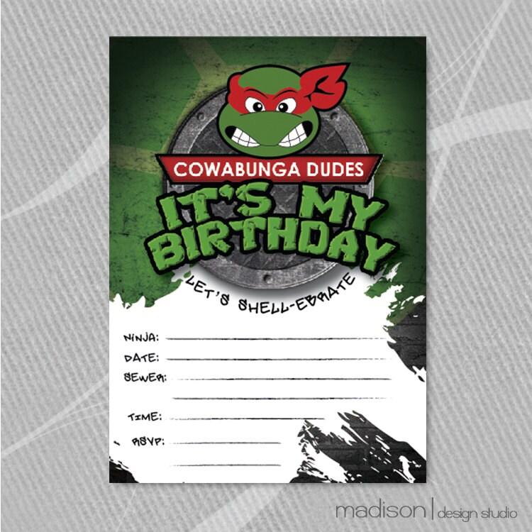 TMNT Fill-In Invitation Teenage Mutant Ninja Turtle