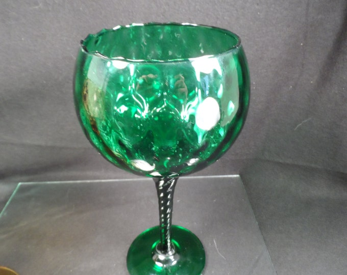 Mid Century Green and Amber Empoli Optic Brandy Snifters-Handmade Glass From Italy-Green and Amber Diamond Quilt Pattern Empoli Stemware