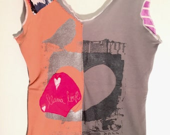 Patchwork tops birds in love back and front reversible