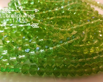 Rosary of 72 clear glass beads faceted green 8x6mm