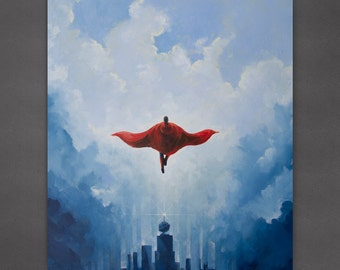 "Superman 8x10 inch Print ""Savior"" from an original painting"
