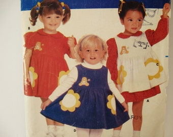 One dollar SALE Butterick 6262 Sewing Pattern Girls Care Bears Dress Pinafore Size 1 - 2