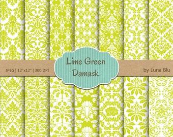 """Damask Digital Paper: """"Lime Green Damasks"""" scrapbook paper, damask patterns, lime green digital paper, for scrapbooking, cardmaking, invites"""