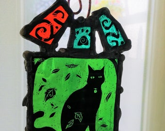 Cats- Choice of pink or green - Stained Glass Light Catcher= Made to order folk art style.