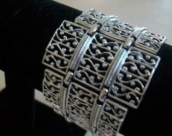 Vintage panel bracelet, silver tone, openwork, large, chunky, 1960s 1970s era