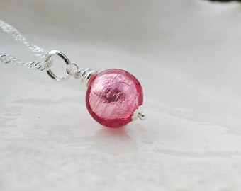 Dainty Pink Murano Glass Necklace