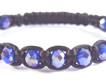 Blue Swarvoski Crystal Shambella Style Bracelet, Crystal Bracelet, Woman's Bracelet, Woman's Crystal Jewellery, Gifts for Her, Xmas Gifts