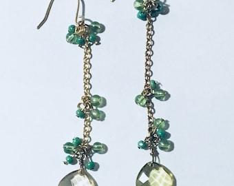 Golden Green Earrings