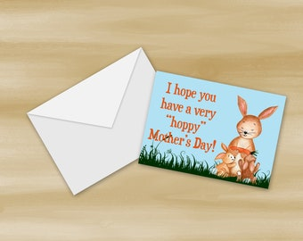 Watercolor Rabbit Mother's Day Card Printable (Digital File Only)