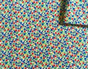 Vintage Fabric 60's White Floral Cotton, Printed, Material, Textiles (3/4 yard)