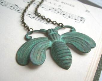 Verdi Gris Bee necklace - Oh Honey - large focal pendant - green blue patina on raw brass