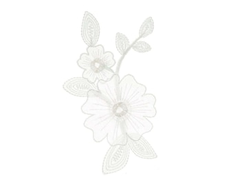 White Flowers Iron On Applique, Floral Iron On Patch, Flowers Patch, Flower Applique, Lace Patch, Wedding Applique, Embroidered Patch