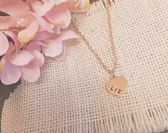 16k Gold Plated 13x15mm Hand Stamped Heart Necklace - Choose your own 3 letters