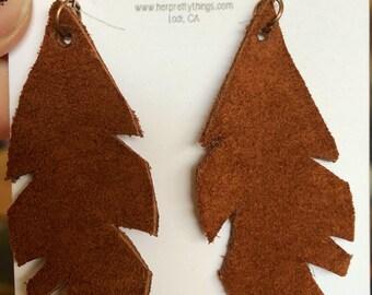 Handcut Leather Feather Earrings || Caramel || Hypoallergenic