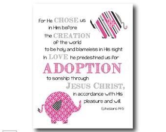 He chose us | Ephesians 1:4-5 - Christian Art Print