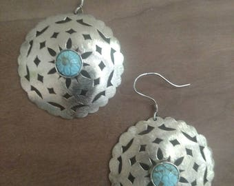 Sterling Silver and Turquoise Shield Earring