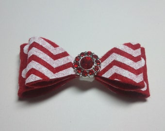 Red Chevron Layered Bow with bling - small style - Perfect for Valentines Day