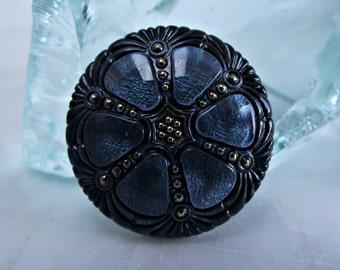 Czech Glass Button 27mm Montana Blue Wheel BC-42,montana blue button,dark blue button,27mm glass button,czech glass button,blue black button