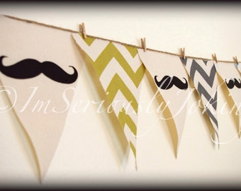 5 Colors of Chevron print Mustache Banner-Little Man Party-Baby Shower Banner-Mustache Party-Party Banner- 5 Colors of Chevron-Chevron