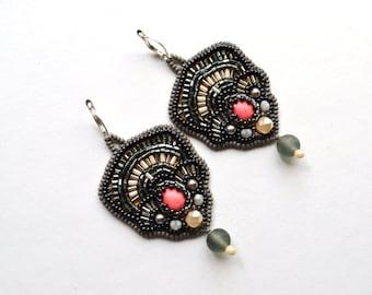 Pink Grey dangle seed bead earrings Bead embroidered jewelry Sparkling gray beadwork earrings Evening jewelry for women Silvery earrings